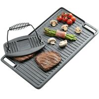 VonShef Black Pre-Seasoned Cast Iron Reversible Griddle Plate & Meat Bacon Press