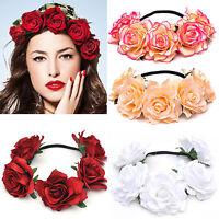 Vintage Bridal Floral Crown Rose Flower Wedding Hair Garland Headpiece Headband