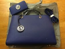 MMK Collection by Top Pick Satchel Bag with Matching Wallet, Blue, NWT