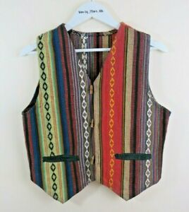 VINTAGE Waistcoat Handmade Ethnic Ikat Woven Tapestry Size M Wooden Toggles