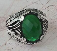 f0f5a77c3204 Otomano Verde Emerald Piedra preciosa 925 Libra esterlina Plata Mens Anillo  Pi