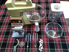 1970s Vintage Oster Regency Kitchen Center Mixer Grinder Slicer With Attachments