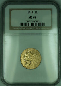 1913 Indian Half Eagle $5 Gold Coin NGC MS-61 (KD)