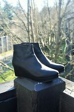 COCLICO SHOES PLATFORM BOOTIES 38 Black Leather Minimalist Wedge Ankle Boots