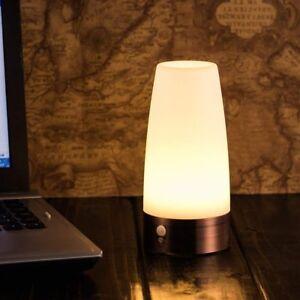 PIR Motion Sensor Night Light Battery Powered LED Table Lamp Warm White Wireles