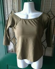 Soft Surroundings Olive Green 34B BRA TOP SHIRT 3/4 Sleeve Built-in Underwire T