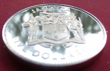 42.1mm big SILVER PROOF STRIKE 1974 JAMAICA GEM PROOF $FIVE DOLLARS with HOLDER