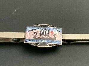 Vintage Sterling 830S Norwegian Enamel Tie Bar Tie Clip Signed N
