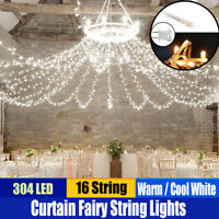 300 LED 3m X 3m Fairy Curtain String Lights Wedding Party Room Perfect Holiday