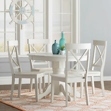 5 Piece White Round Pedestal Table Dining Room Set Home Living Kitchen Furniture