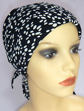 CHEMO HEAD WEAR,  PADDED HEAD SCARF, HATS,CAPS FOR HAIR LOSS. BLACK AND WHITE