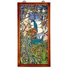 Peacock & Wisteria Tiffany-Style Stained Glass Window Design Toscano Art Glass