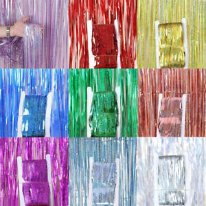 2M 3M Sparkle Foil Fringe Tinsel Shimmer Curtain Door Wedding Birthday Party