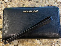 Michael Kors Wristlet Leather Jet Set Travel Zip Phone Case Wallet Black NEW