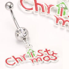 """14g 7/16"""" Christmas Charm Belly Button Ring"""