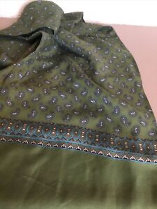 Vintage Tootal Green & Blue Mens Paisley Scarf