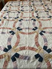 """Vintage Hand Quilted Double Wedding Ring Quilt Cutter 98"""" x 80"""" queen #154"""