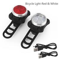 Radfahren Fahrrad 3LED Kopf Vorderseite USB RechargeableSchwanz Clip Licht Lampe