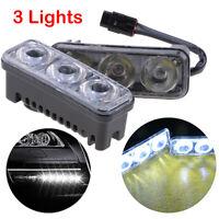 Pair 12V 3 LED White Universal Car DRL Daytime Running Light Fog Lamp Universal