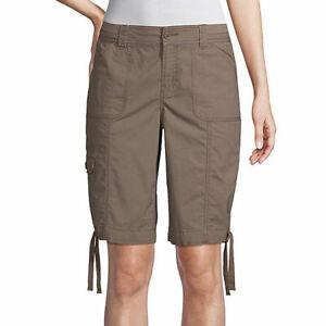 "St. John's Bay Women's Mid Rise Bermuda Shorts Size 18 Taupe Shadow 11"" Inseam"
