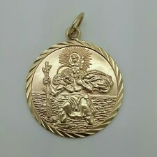 9ct Yellow Gold Double Sided Saint Christopher Pendant *no chain