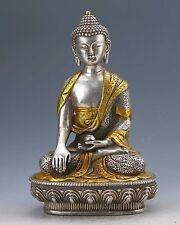 Old Tibetan Silver Bronze Gilt Handmade Sakyamuni Buddha Statue z40
