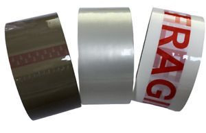 Buff Brown Clear Packaging Parcel Packing Tape Strong 48mm x 66m Fragile free uk