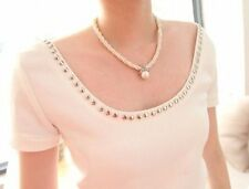 New Fashion Women's White Pearl & Crystal Silver Style Beads Choker Necklace