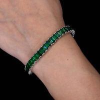 12 TCW Green Emerald Cut Tennis Bracelet 925 Sterling Silver Gemstone Bracelet