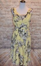 Modcloth Truly, Madly, Dreamy Dress Yellow Floral NWT 4 chiffon sash A-line Cowl