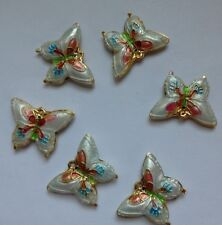 6 Cloisonne Butterfly Beads, White/Pink/Blue 20mm. Jewellery Making/Sew/Crafts