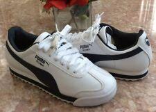 Puma Roma Basic Kid's White Navy Blue Athletic Shoes Size 4.5 #353572 12 Euc