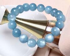 Natural Brazil Blue Aquamarine Crystal Round Beads Bracelet AAA 12 mm