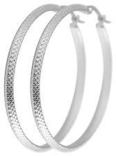 Titanium Titan Ohrhänger Ohrringe Klapp Creolen Kreolen Silber dünne Damen 45 mm
