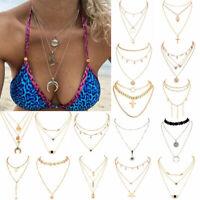 Multi-layer Fashion Women Boho Alloy Clavicle Choker Necklace Long Chain Jewelry