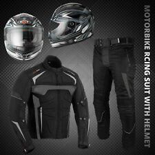 Men's Motorcycle Racing Suit Cordura Motorbike Waterproof Jacket Trouser Helmet