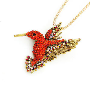 Betsey Johnson Lovely Crystal Hummingbird Pendant Chain Necklace/Brooch Pin Gift