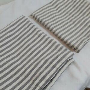 Pair 2 IKEA Margareta Gray Striped Throw Pillow Covers 20x20 Square Zip Cotton