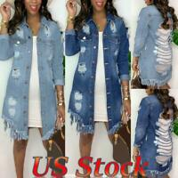 Women's Ripped Hollow Denim Jacket Casual Long Sleeve Tassel Jeans Outwear US