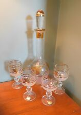 BOHEMIA GLASS DECANTER WITH 4 GLASSES GOLD TRIM & LEAVES DESIGN WITH LABEL