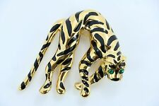 Rare Vintage Ciner Tiger Enamel Brooch Limp Green Emerald Crystal Gold Plated