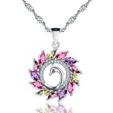 Colorful Peacock Pendant Necklace 925 Sterling Silver Chain Women Gir c