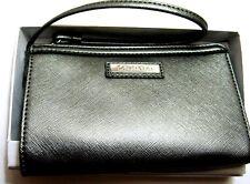 18d0e30320 Calvin Klein Saffiano Leather Zip Around Wallet Wristlet Gunmetal New NWT