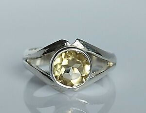 Beautiful Sterling Silver & Natural Citrine Fancy Solitaire Ring UK Size L/M