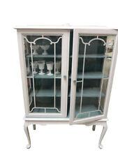 vintage coastal 1950u0027s china cabinet white shabby aqua cottage display cabinet