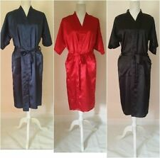 Faux Satin Patternless Nightwear Robes for Women