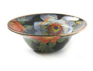 mackenzie childs black flower market breakfast bowl