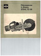 Notice manuel d'utilisation + vue éclatée pièces tronconneuse Stihl TS08
