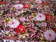 ITALIAN STRETCH COTTON SATEEN PRINT-LEOPARD ROSE-RED/PINK-DRESS FABRIC-FREE P&P