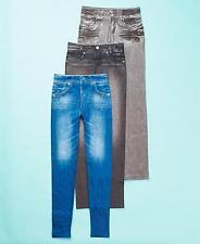 3 WOMEN'S FLEECE LINED BLUE JEAN LEGGING PANTS BLUE BLACK GRAY - 2XL